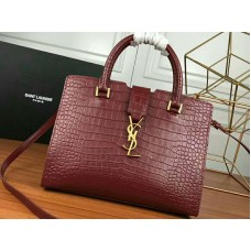 Saint Laurent Cabas Ysl Small In Smooth Leather Burgundy