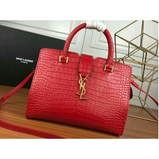 Saint Laurent Cabas Ysl Small In Smooth Leather Red