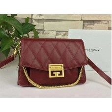 Givenchy gv3 Calfskin Quilted Leather Flap Bag Burgundy