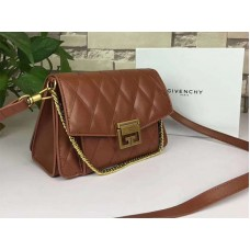 Givenchy gv3 Calfskin Quilted Leather Flap Bag Camel