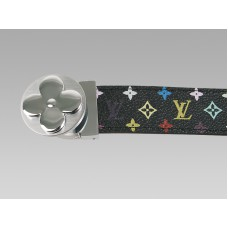 Louis Vuitton Black Multicolore Belt With Round Flower Silvery Buckle