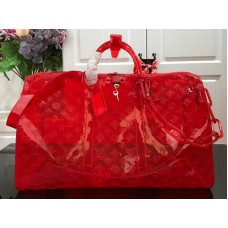 Louis Vuitton Monogram Embossed Pvc Keepall Bandouliere 50 Red m53274